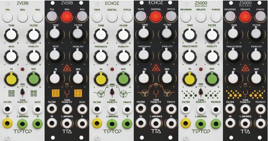 ZVERB, ECHOZ e Z5000: i nuovi moduli effetti TIPTOP AUDIO